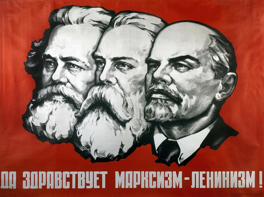 Poster Depicting Karl Marx Painting - Poster Depicting Karl Marx Friedrich Engels And Lenin by Unknown