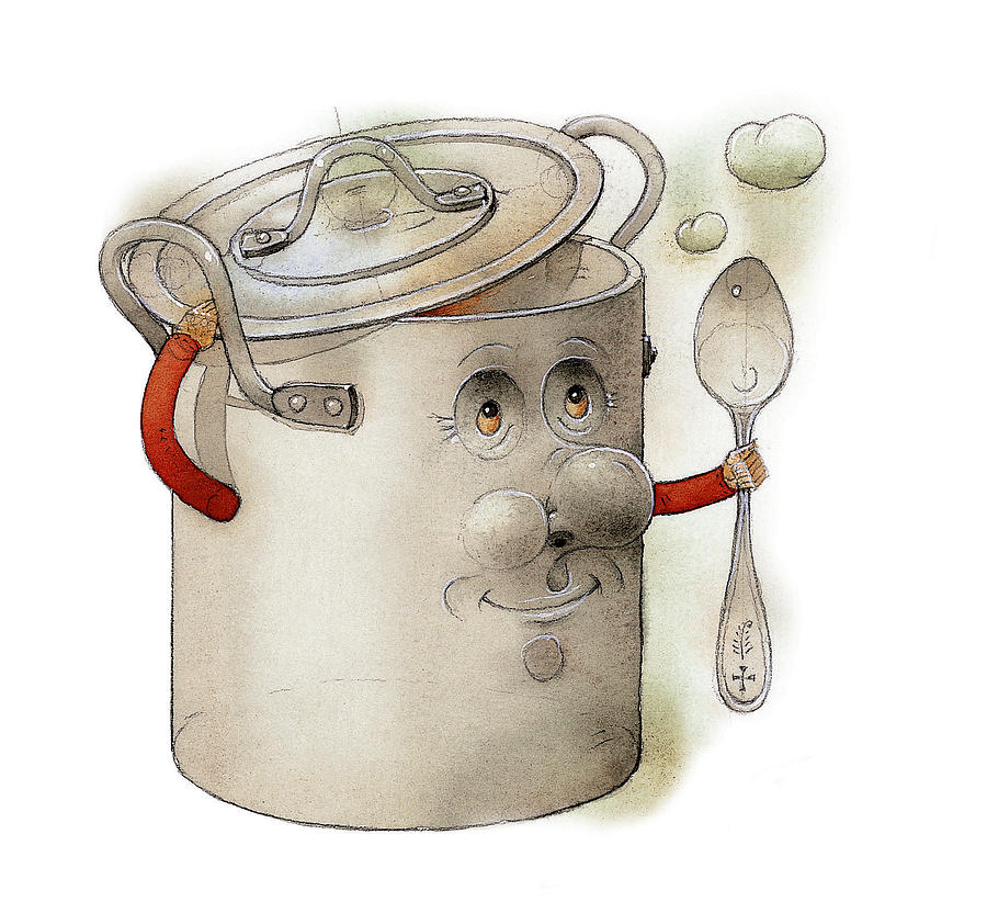 Pot Kitchen Food Cooking Soup Painting - Pot by Kestutis Kasparavicius