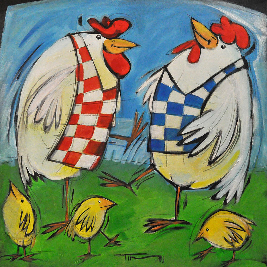 Hens Painting - Poultry In Motion by Tim Nyberg