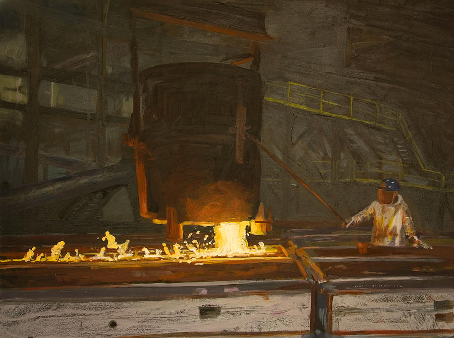 Industry Painting - Pouring by Martha Ressler