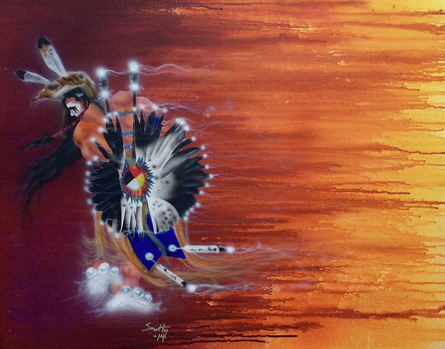 Pow Wow Dancer Painting By Mike Smith