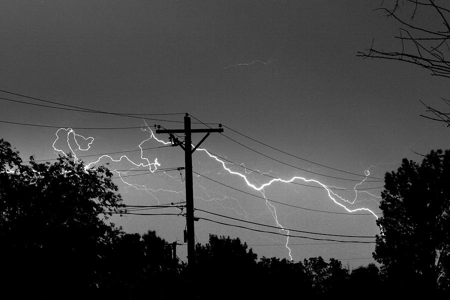 Lightning Photograph - Power Lines Bw Fine Art Photo Print by James BO  Insogna