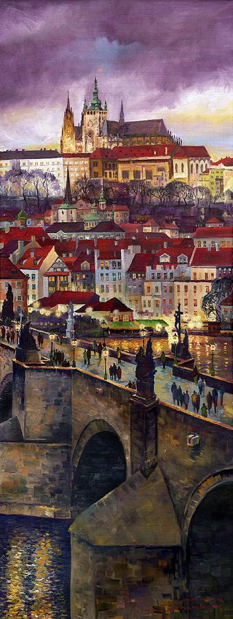 Prague Painting - Prague Charles Bridge With The Prague Castle by Yuriy  Shevchuk