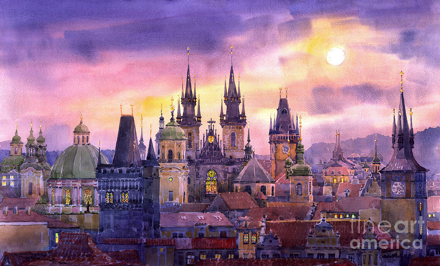 Architecture Painting - Prague City Of Hundres Spiers Variant by Yuriy  Shevchuk