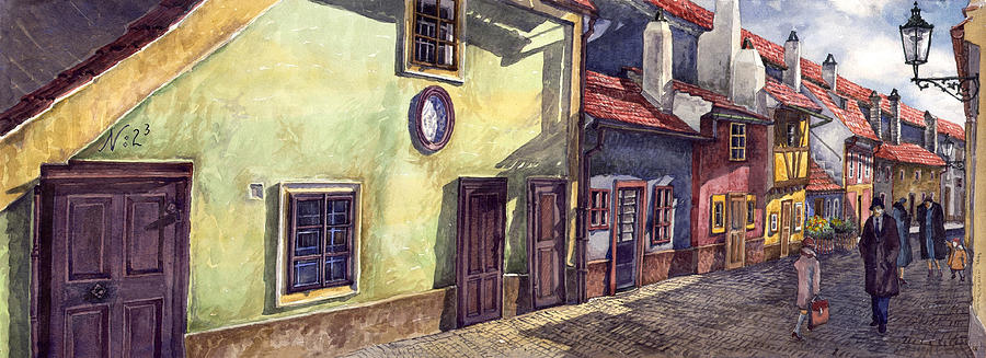 Watercolour Painting - Prague Golden Line Street by Yuriy  Shevchuk