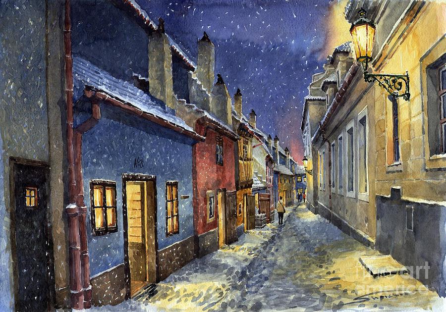 Goldenline Painting - Prague Golden Line Winter by Yuriy  Shevchuk