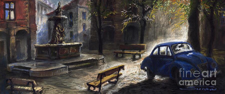 Prague Painting - Prague Old Fountain by Yuriy  Shevchuk