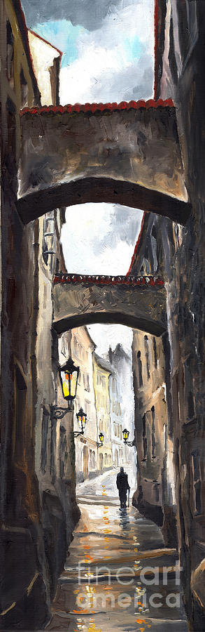 Oil On Canvas Paintings Painting - Prague Old Street 02 by Yuriy  Shevchuk