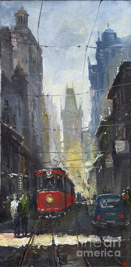 Oil On Canvas Paintings Painting - Prague Old Tram 05 by Yuriy  Shevchuk