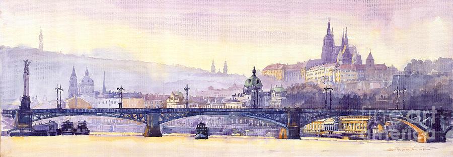 Watercolour Painting - Prague Panorama Chehuv Bridge by Yuriy  Shevchuk
