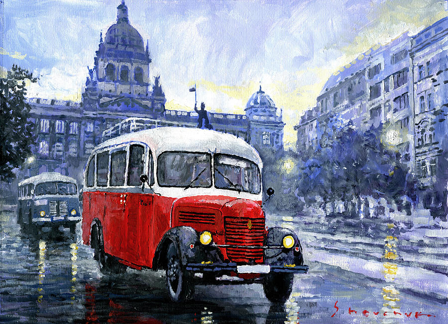 Acrilic Painting - Praha Rnd Bus 1950 Skoda 706 Ro by Yuriy Shevchuk