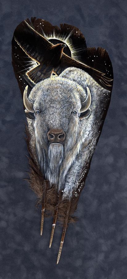 White Buffalo Painting - Prairie Eclipse by Sandra SanTara