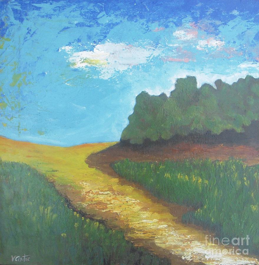 Prairie-original Pallet Knife Painting On Stretched Canvas- 12x12x0.75 Painting