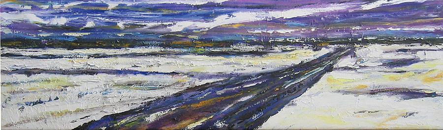 Prairie Winter Road Painting