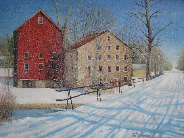 Mill Painting - Prallsville Mill In The Snow by Oz Freedgood