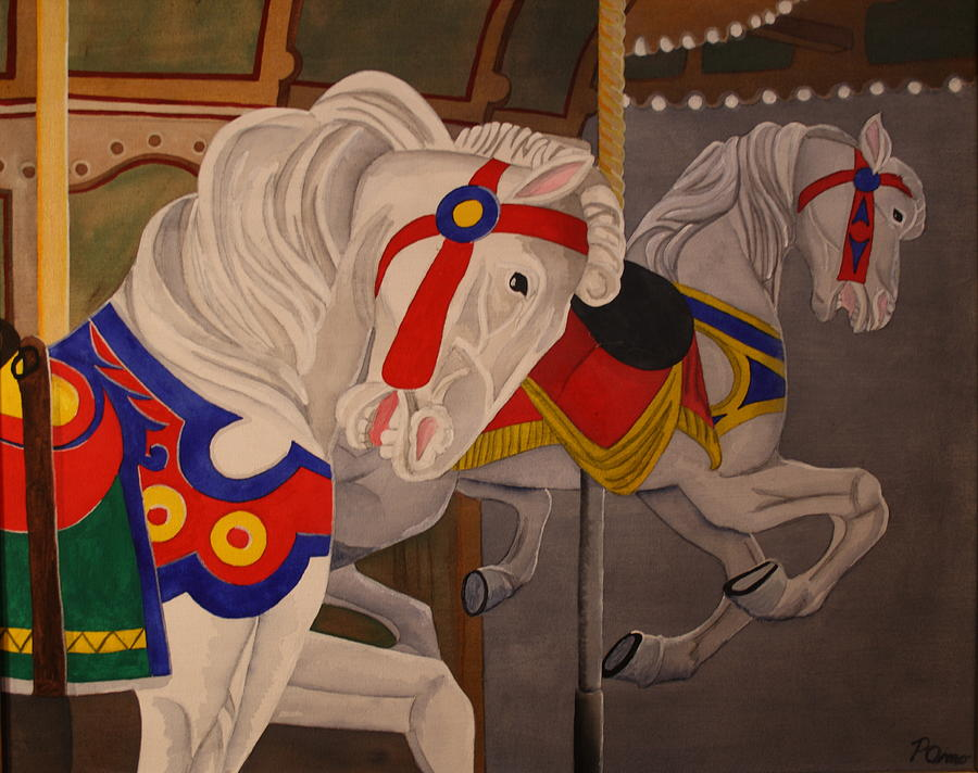 Carousel Horse Painting - Prancing Pair by Paul Amaranto