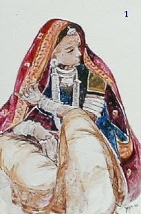 Rajasthani Women. Painting - Pratiksha by Netra Sathe