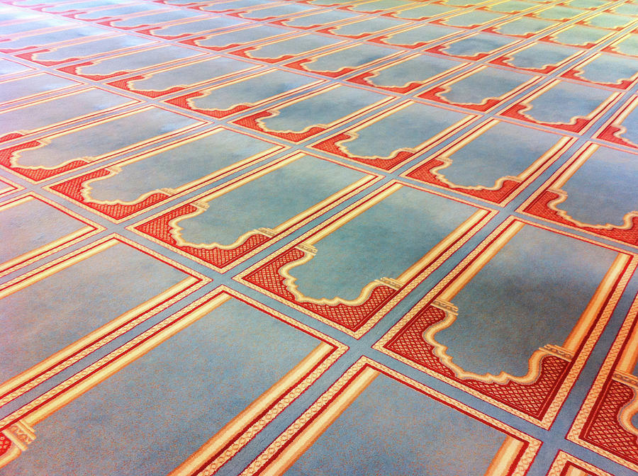 Horizontal Photograph - Prayer Mats Printed On Mosque Carpet by Jill Tindall