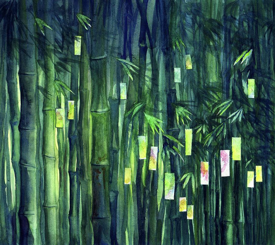 Tree Painting - Prayer Tree IIi by Janet Chui