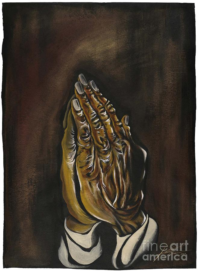Christ Painting - Praying Hands by Keith  Thurman
