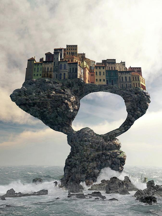 Ruin Digital Art - Precarious by Cynthia Decker