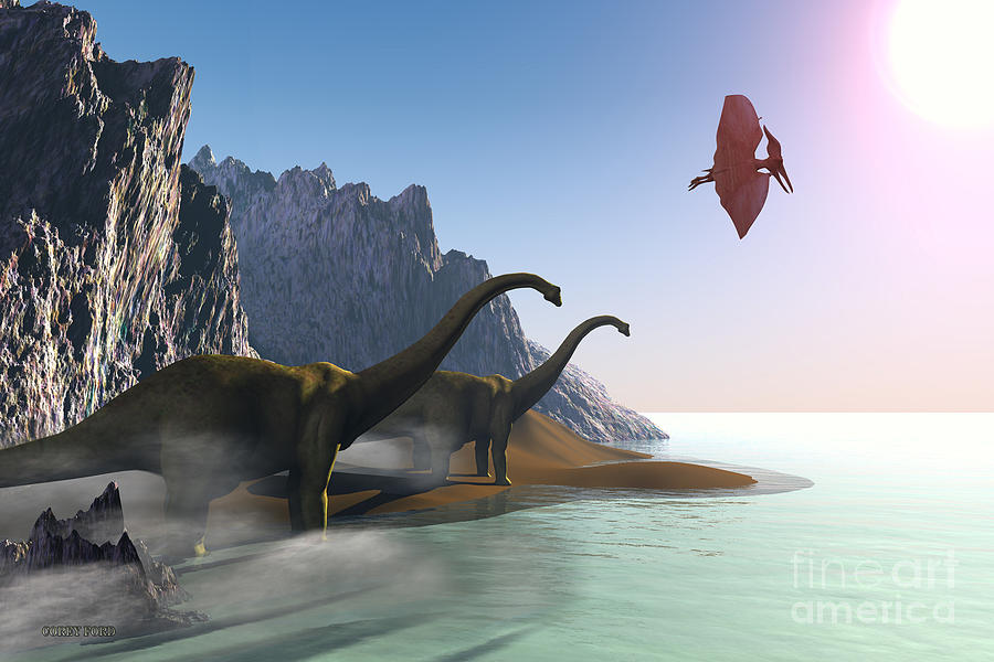 Diplodocus Painting - Prehistoric World by Corey Ford