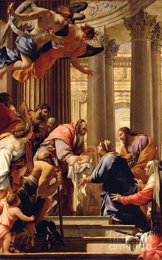 Presentation In The Temple (oil On Canvas) Jesus Christ; Mary; Joseph; Infant; Baby; Angels Painting - Presentation In The Temple by Simon Vouet