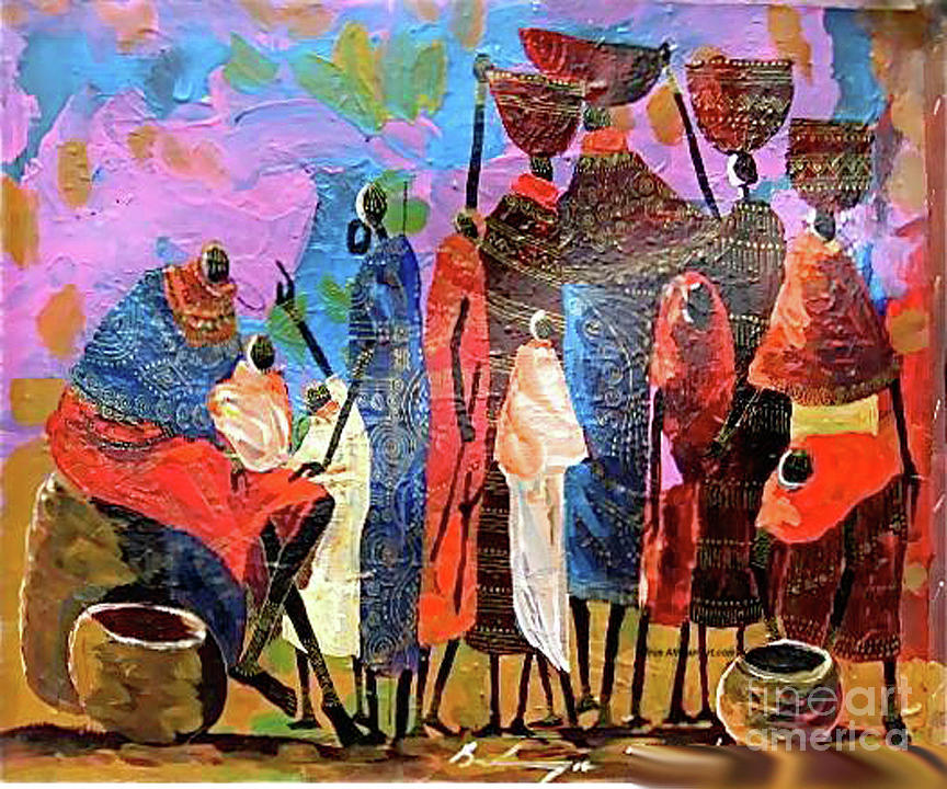 Maasai Elders Blessing A Baby Painting - Presents For The New Born by Martin Bulinya