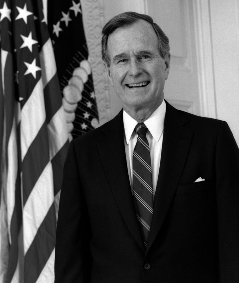 George Bush Photograph - President George Bush Sr by War Is Hell Store