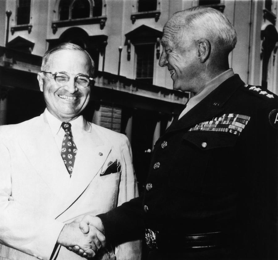 1940s Candid Photograph - President Harry Truman, Shaking Hands by Everett