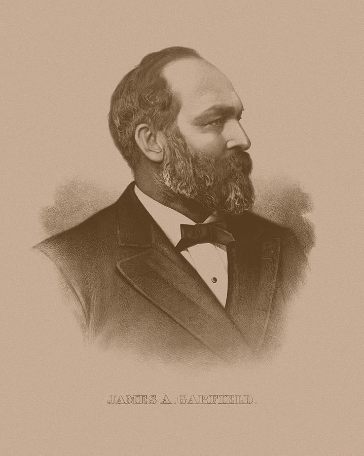 James Garfield Drawing - President James Garfield by War Is Hell Store