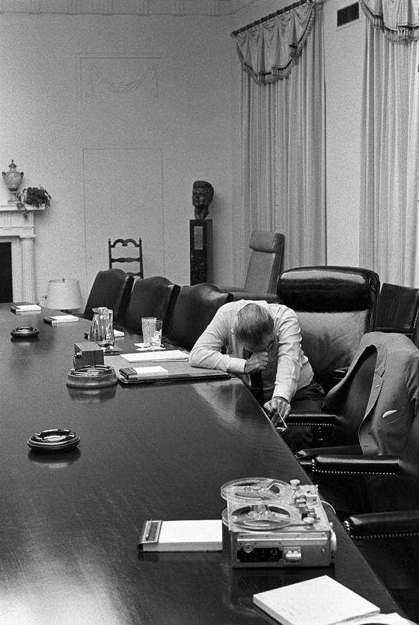 History Photograph - President Johnson Appears Agonized by Everett