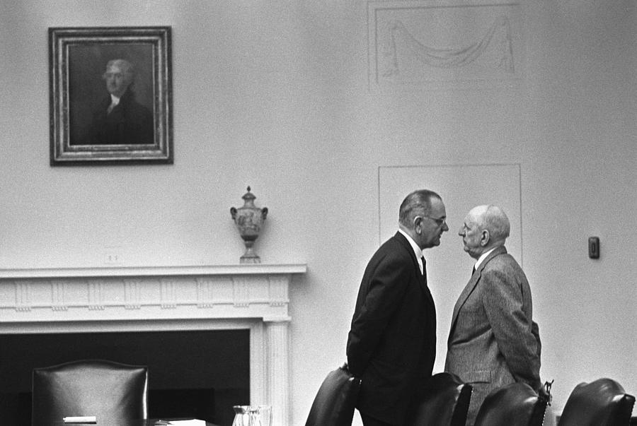 History Photograph - President Johnson Invading The Space by Everett