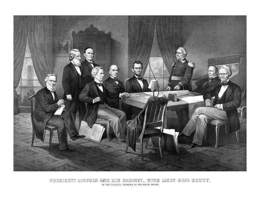 Abraham Lincoln Drawing - President Lincoln His Cabinet And General Scott by War Is Hell Store