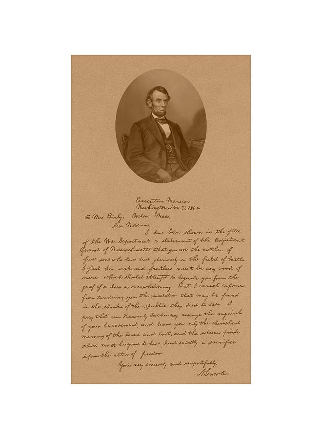 Bixby Letter Drawing - President Lincolns Letter To Mrs. Bixby by War Is Hell Store