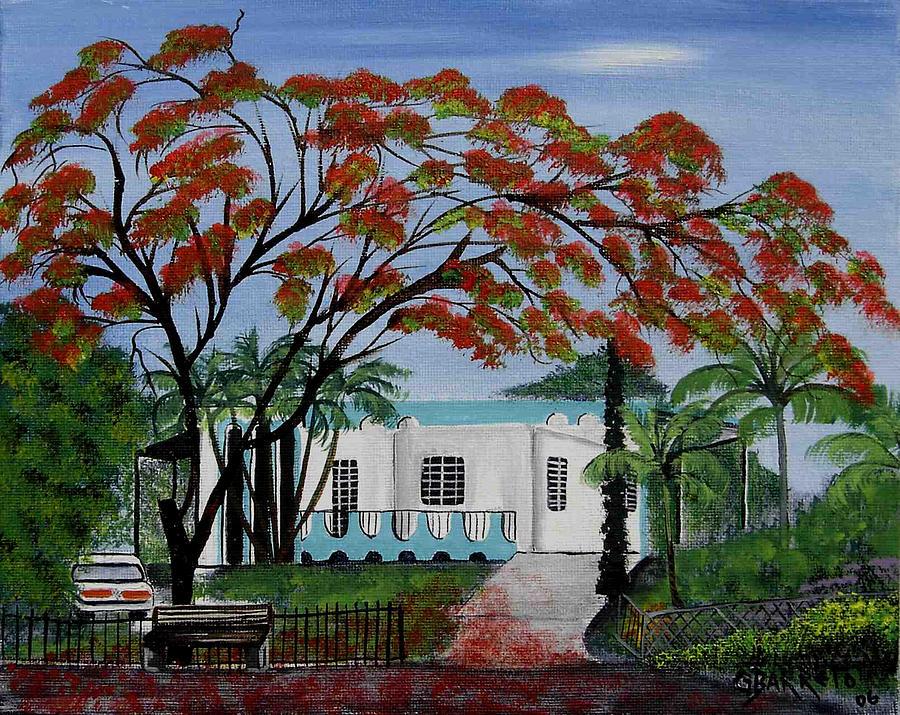 Flamboyant Painting - Pretty In Red by Gloria E Barreto-Rodriguez