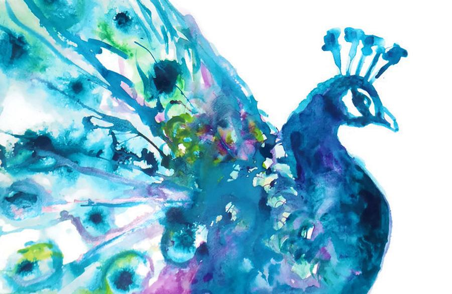 Abstract blue bird painting