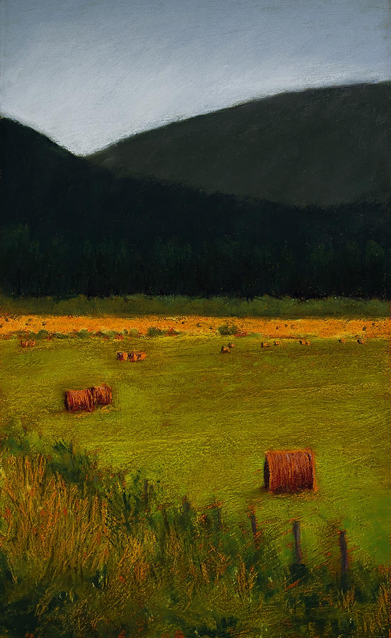 Landscape Painting - Priest Lake Hay Bales by David Patterson
