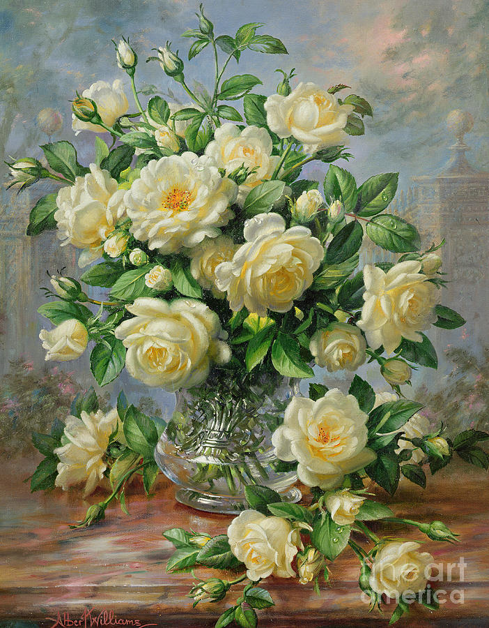 In Honour Of Lady Diana Spencer (1961-97); Still Life; Flower; Rose; Arrangement; Princess Of Wales (1981-96); Homage; Yellow; Flowers; Leafs Painting - Princess Diana Roses In A Cut Glass Vase by Albert Williams