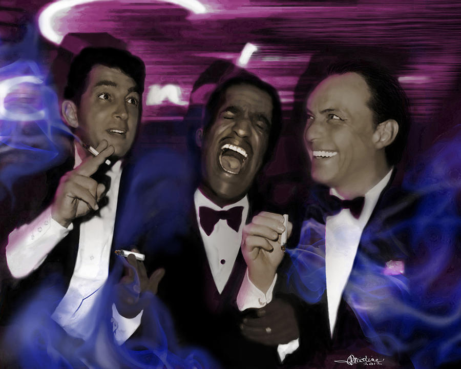 Famous People Mixed Media - Prismatic Rat Pack by Christine Mayfield