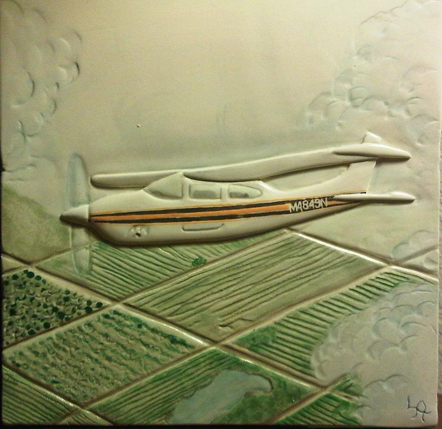 Hand Carved Ceramic Art - Private Plane Flying In California by Linda Andrews