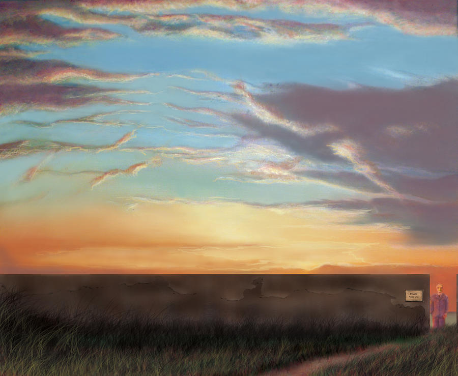 Surrealism Painting - Private Sunrise.  Keep Out by Albert Puskaric