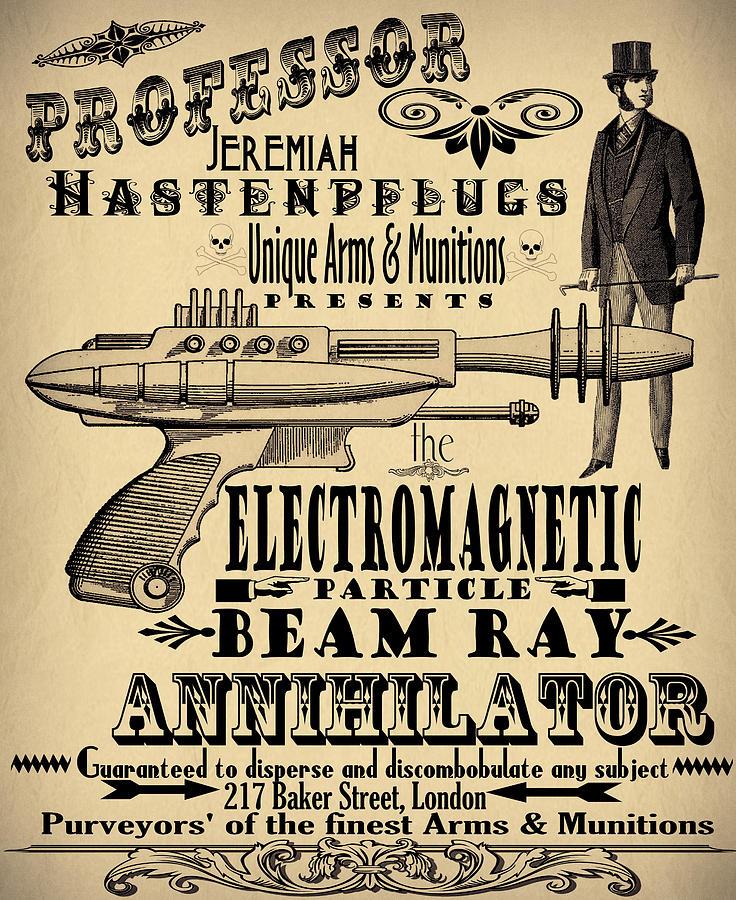 Steampunk Digital Art - Professor H And His Ray Gun by Cinema Photography