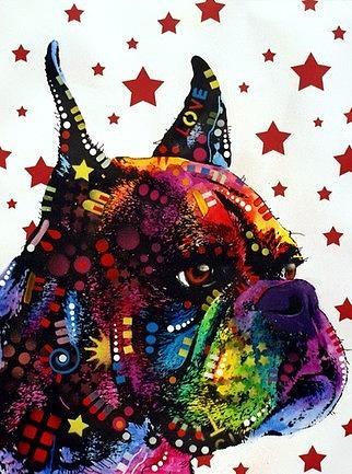 dean Russo Painting Dog Dogs Portrait Graffiti pop Art Pet Etsy Pets Boxer Boxers Pop Painting - Profile Boxer by Dean Russo