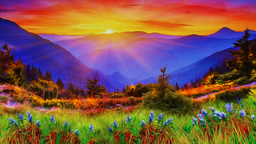 Psychedelic Mountain Sunset Photograph by Ron Fleishman