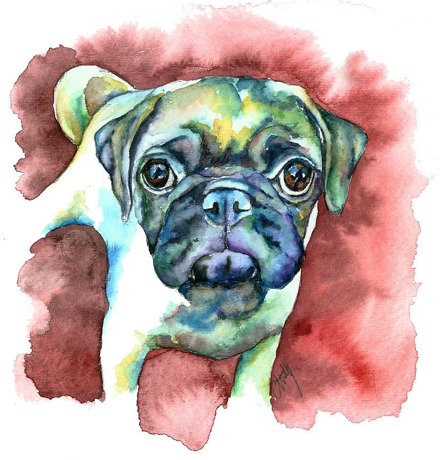 Pug Painting - Pug In Red by Christy  Freeman