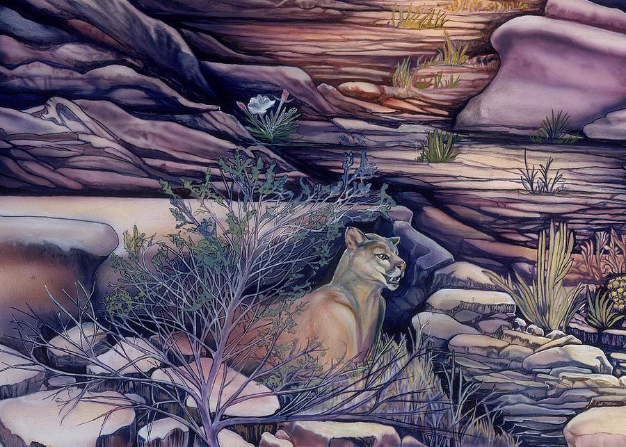 Spirit Of Creation  Painting - Puma In The Desert by Sevan Thometz
