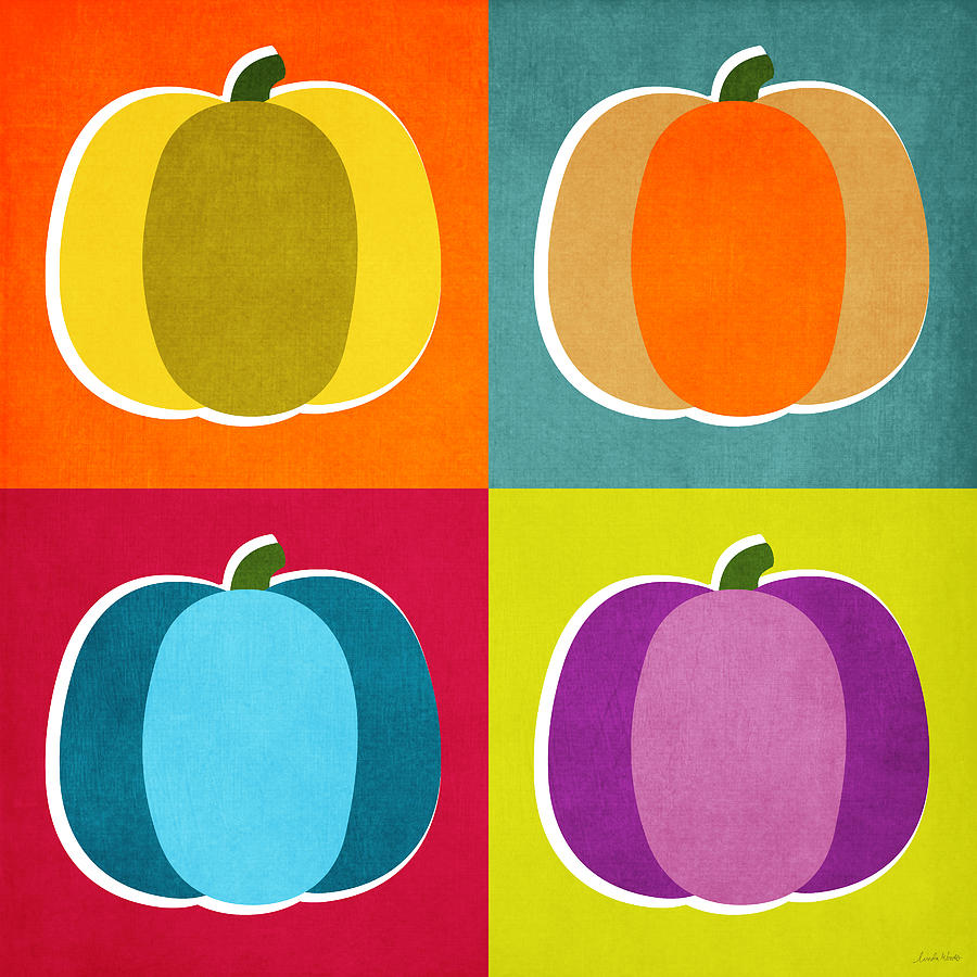Pumpkins- Pop Art By Linda Woods Digital Art