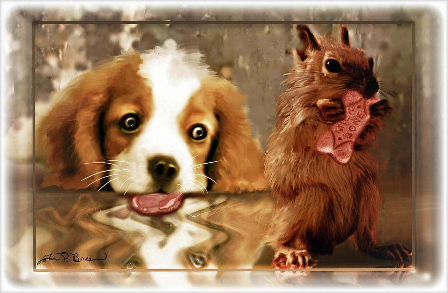 Puppy's Digital Art - Pup And Squirrel by John Breen