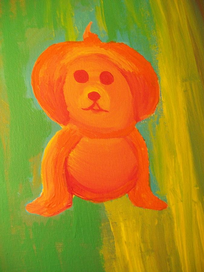 Yellow Painting - Pupmpkin Head Dog by Laurette Escobar